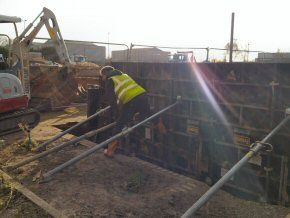 Formwork for new wedge pit at Marshalls Concrete, Bridgwater Somerset.