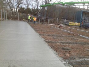 12th January 2012 Concreting at Simms Yard, Taunton - 130 m3 of C40 Concrete with Fibres. 5.5hours