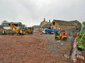 Ground works for barn conversion near North Petherton