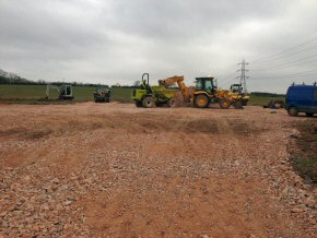 Setting up new site compound for German solar panel farm at Westleigh on border of Somerset and Devon