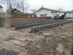 Foundations laid at Tatworth Memorial Hall, Chard, Somerset (to support a prefabricated building)