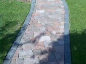 Front garden block paved path with tumbled edge, Wellington Road, Taunton