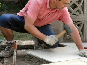 Laying Indian Sandstone in Taunton